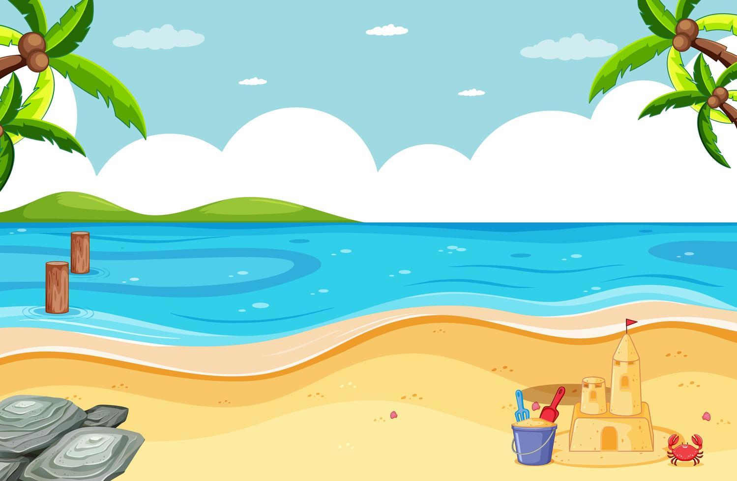 scena di spiaggia vuota con castello di sabbia vettore