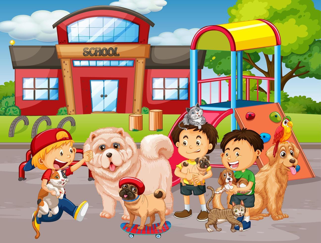 scena all'aperto della scuola con un gruppo di animali domestici e bambini vettore