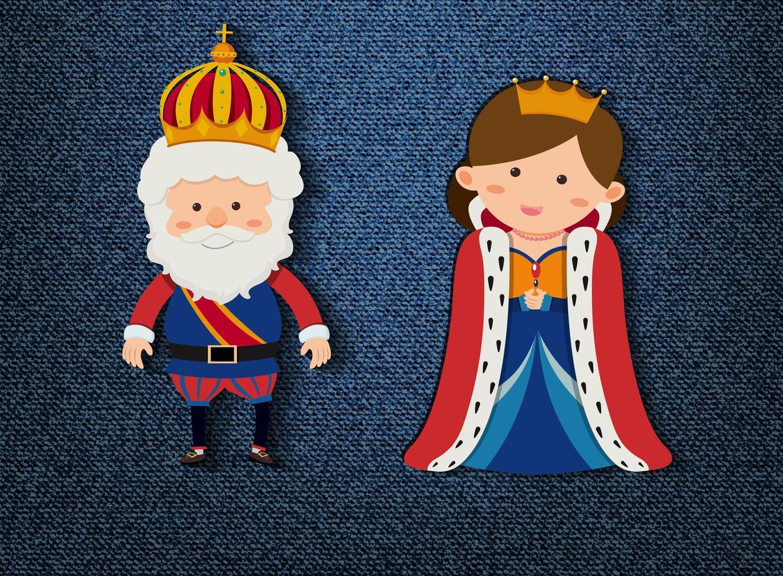 personaggio dei cartoni animati di re e regina su sfondo blu vettore