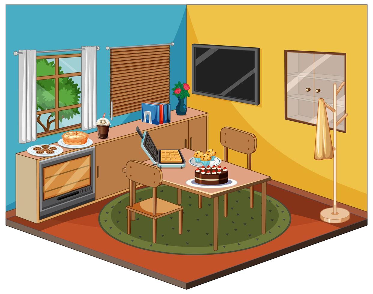 interno della sala da pranzo con mobili vettore