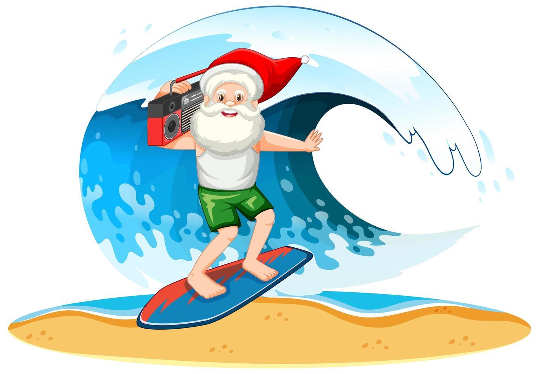 Babbo Natale surf con onda in tema estivo su sfondo bianco vettore