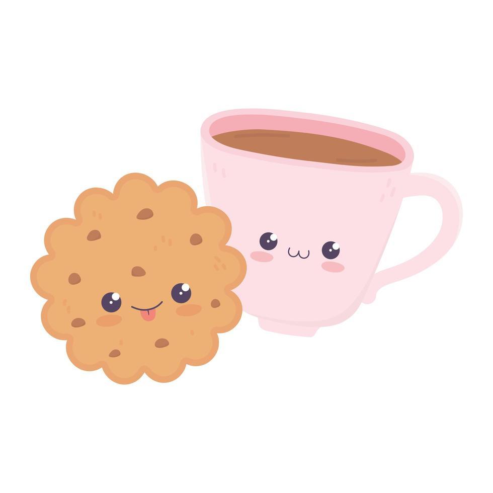 simpatico personaggio dei cartoni animati kawaii con tazza di caffè e biscotti vettore