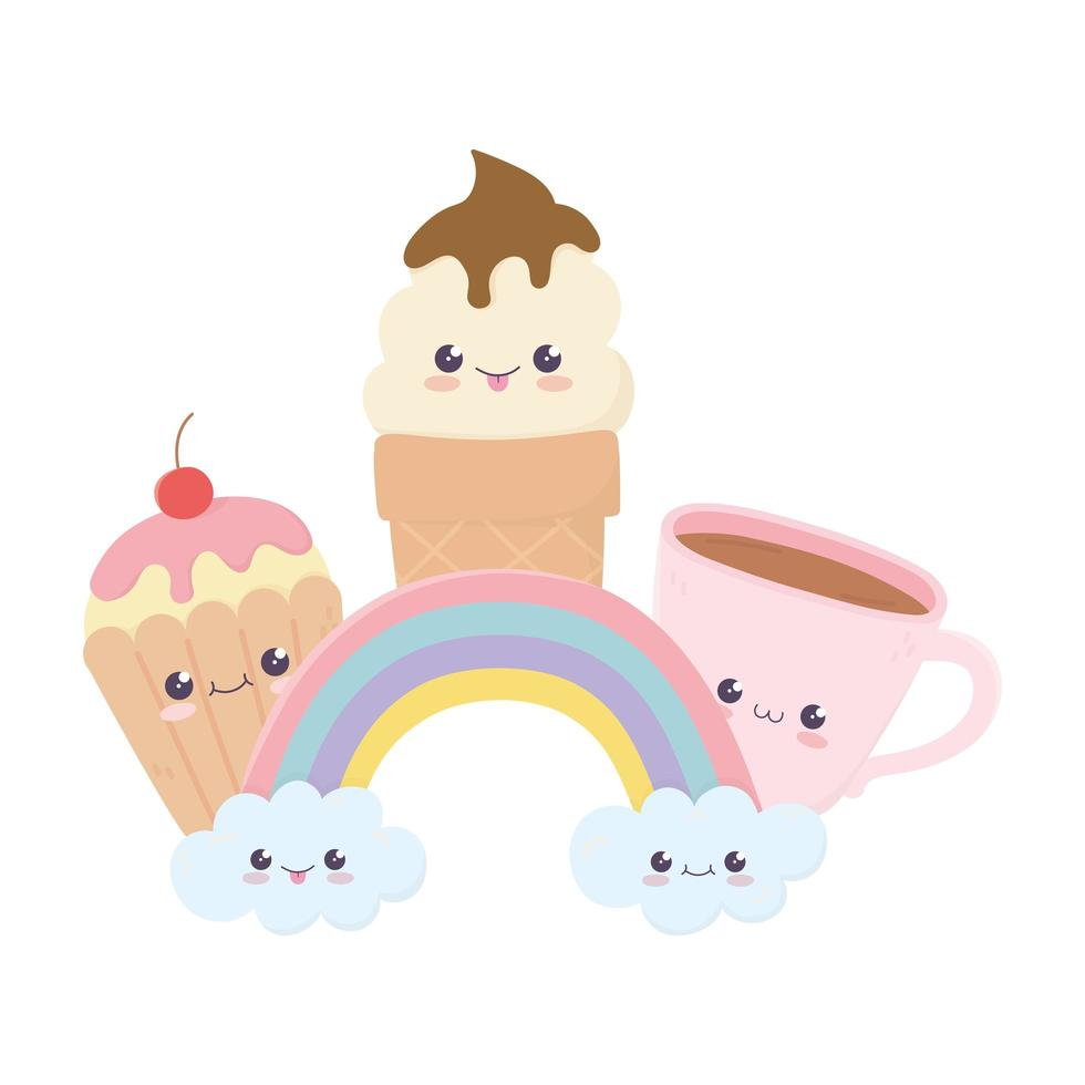 simpatica tazza di caffè gelato cupcake e personaggio dei cartoni animati kawaii arcobaleno vettore