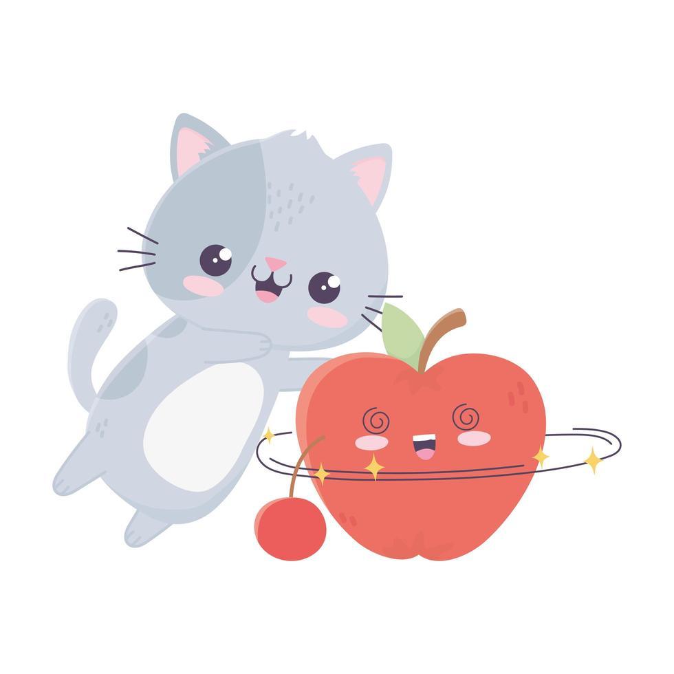 simpatico gattino con personaggio dei cartoni animati kawaii mela e ciliegia vettore