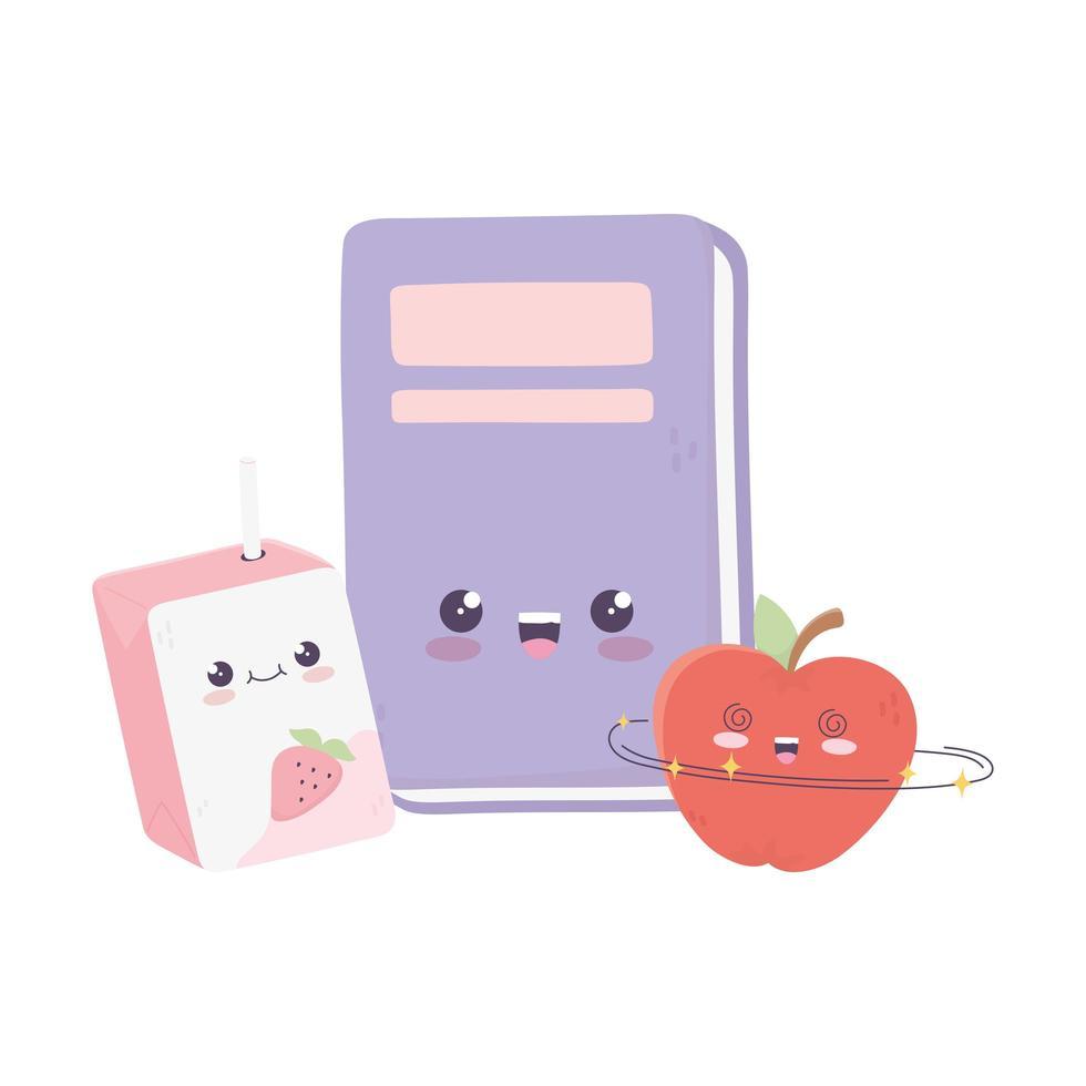 libro carino mela e succo di scatola kawaii personaggio dei cartoni animati vettore