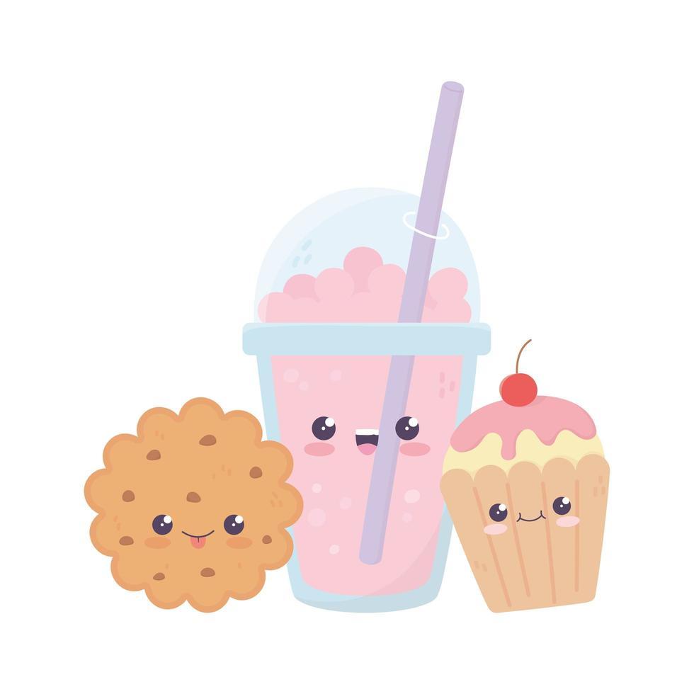 simpatico personaggio dei cartoni animati di milkshake cookie cupcake kawaii vettore