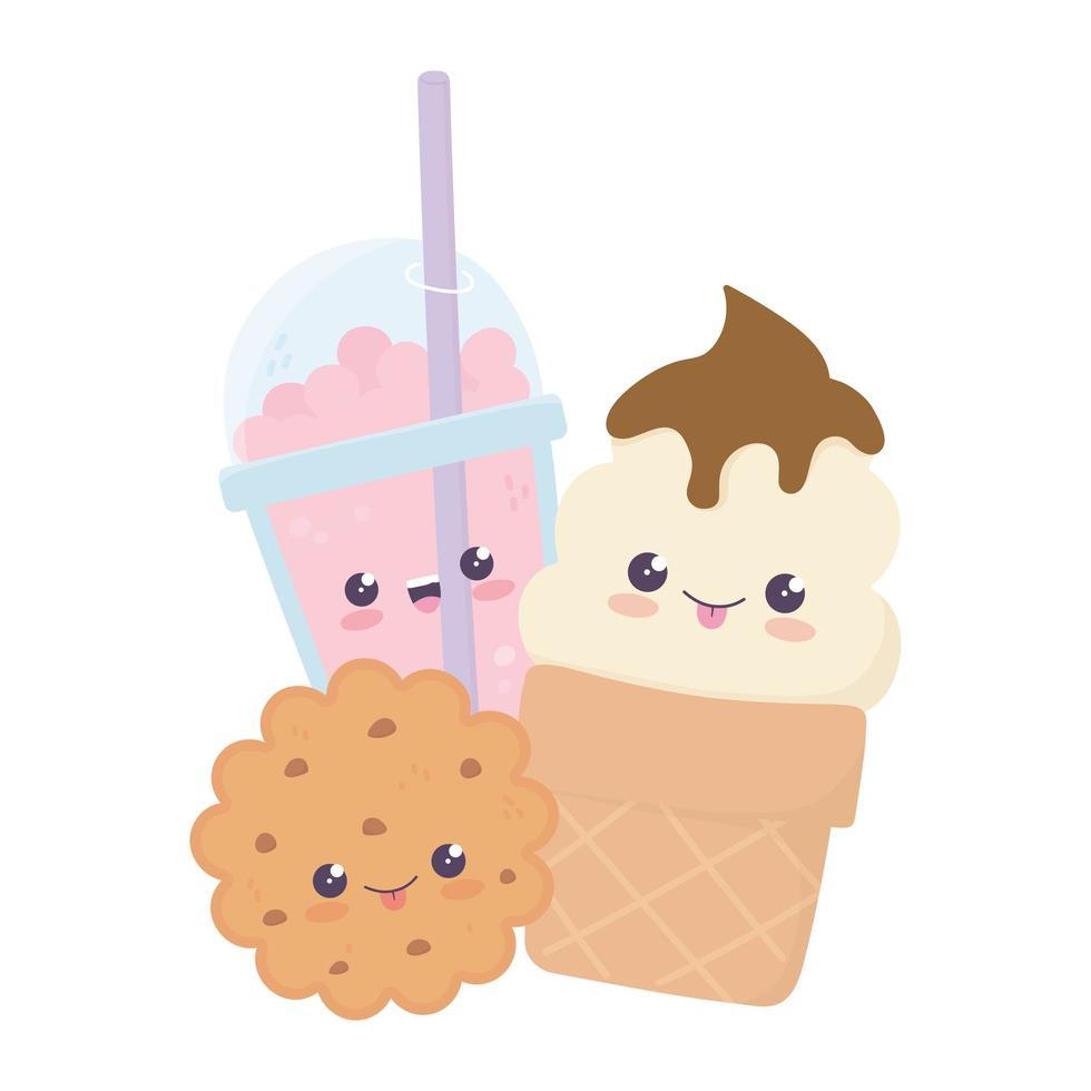 simpatico personaggio dei cartoni animati kawaii biscotto gelato e frappe vettore
