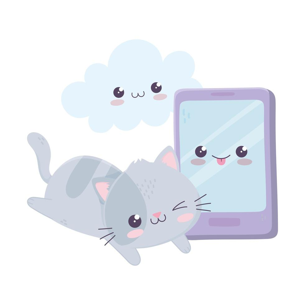 simpatico gattino con il personaggio dei cartoni animati kawaii cloud smartphone vettore