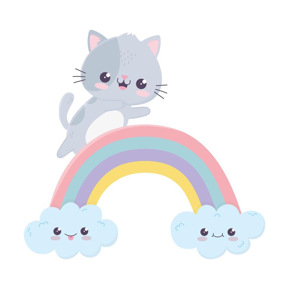 carino piccolo gatto arcobaleno nuvole kawaii personaggio dei cartoni animati vettore