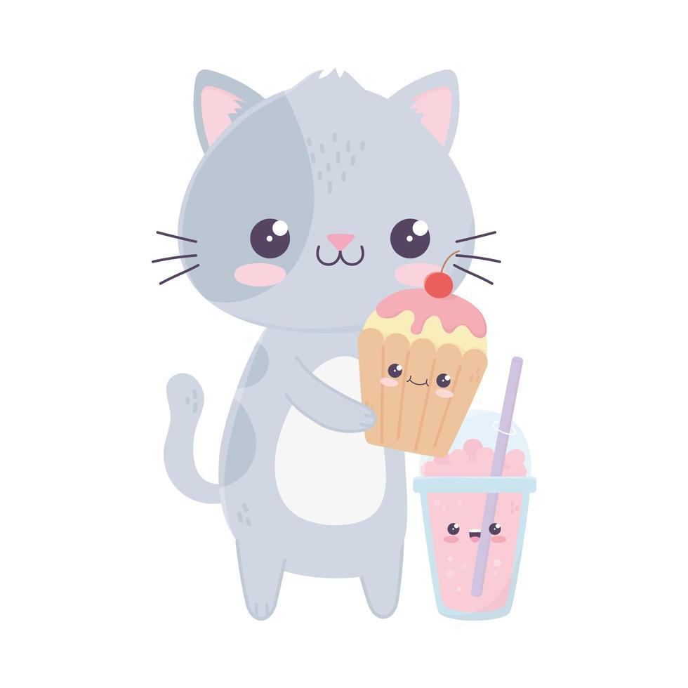 simpatico gatto con cupcake e personaggio dei cartoni animati kawaii vettore