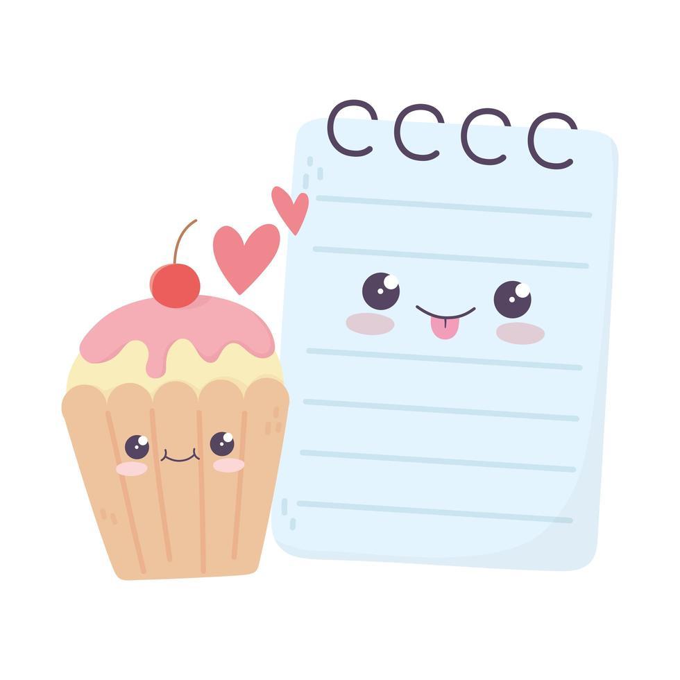 simpatico blocco note e cupcake amore cuori personaggio dei cartoni animati kawaii vettore