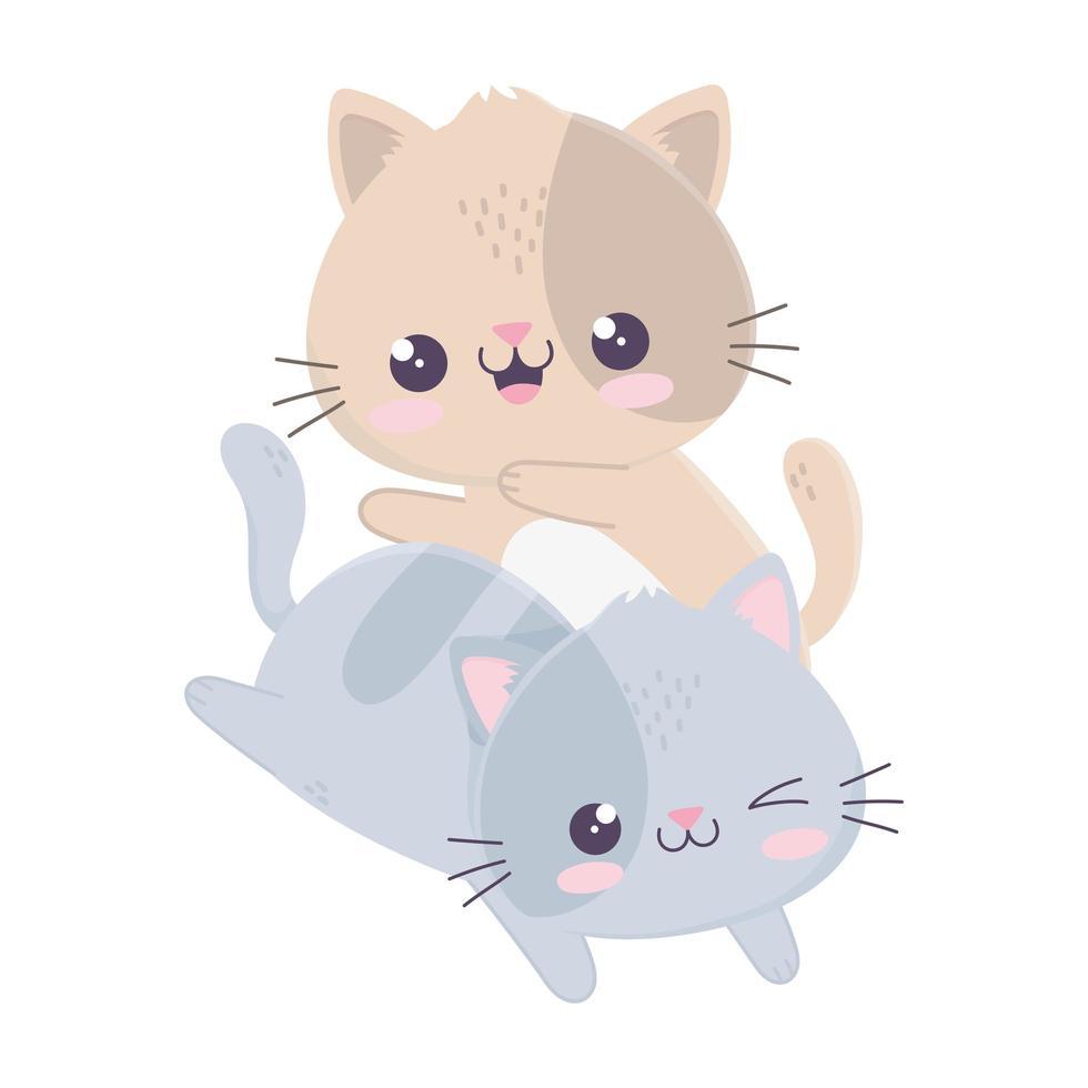 simpatici e divertenti piccoli gatti kawaii personaggio dei cartoni animati vettore
