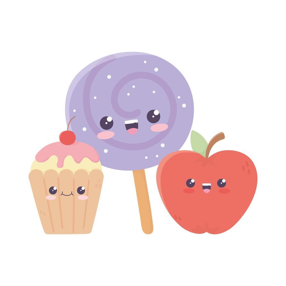 simpatiche caramelle alla mela in stick e cupcake personaggio dei cartoni animati kawaii vettore