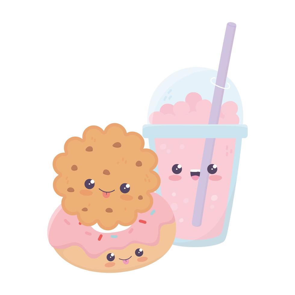 simpatico personaggio dei cartoni animati kawaii di biscotto e frullato di ciambella vettore