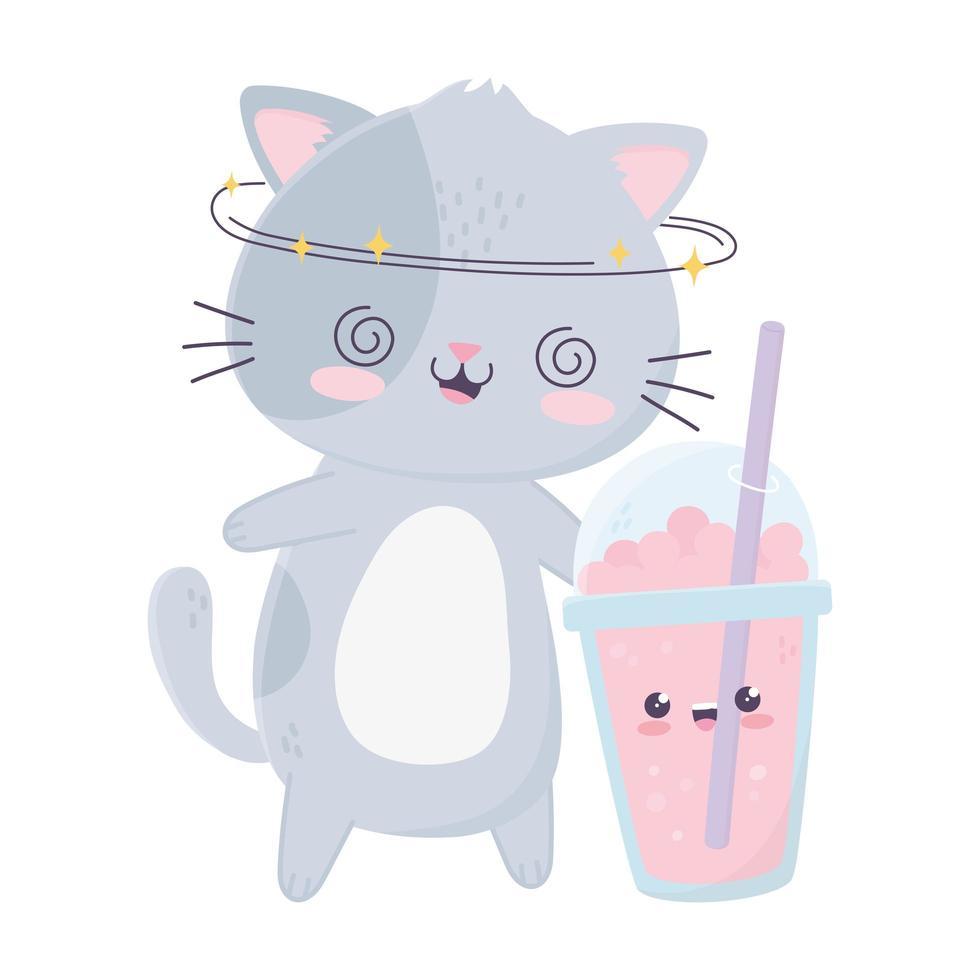 simpatico gatto pazzo con milkshake snack kawaii personaggio dei cartoni animati vettore
