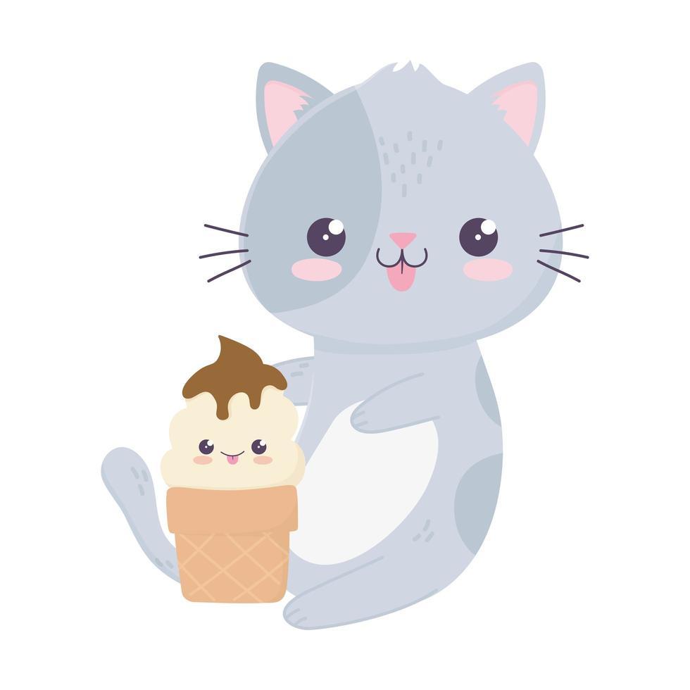 simpatico gattino con gelato kawaii personaggio dei cartoni animati vettore