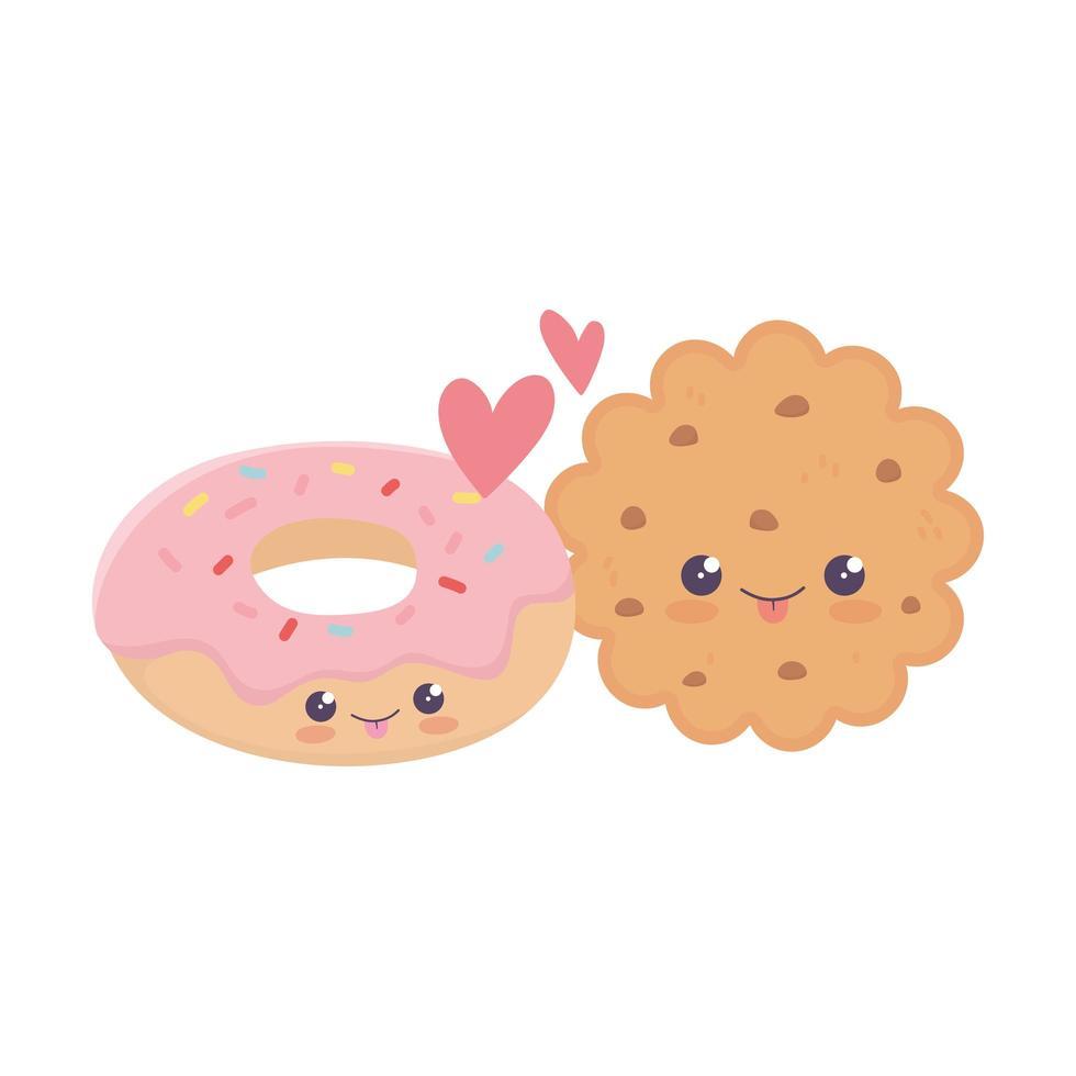 simpatico biscotto e ciambella amore cuori personaggio dei cartoni animati kawaii vettore
