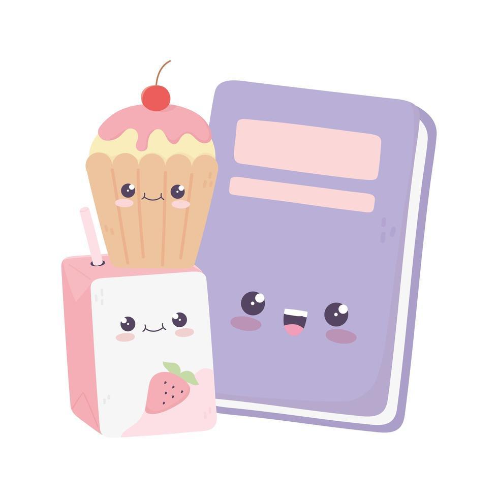 simpatico personaggio dei cartoni animati kawaii di cupcake e succo di scatola vettore