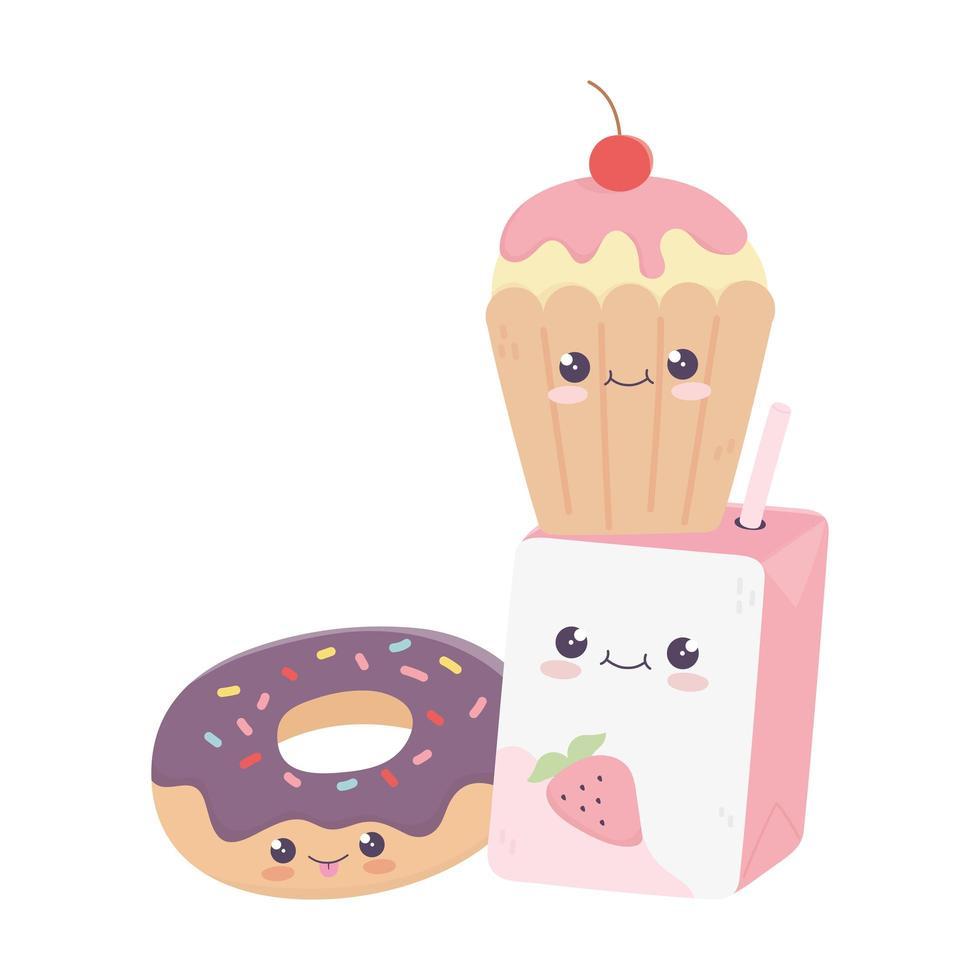 simpatica scatola di succo di ciambella e cupcake personaggio dei cartoni animati kawaii vettore