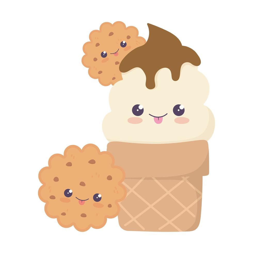 simpatico cono gelato e biscotti kawaii personaggio dei cartoni animati vettore