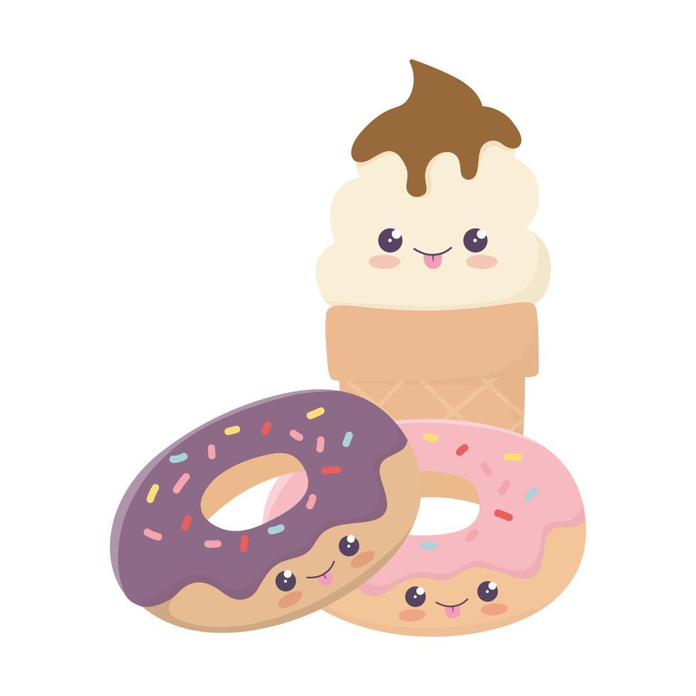 simpatiche ciambelle dolci e gelato kawaii personaggio dei cartoni animati vettore