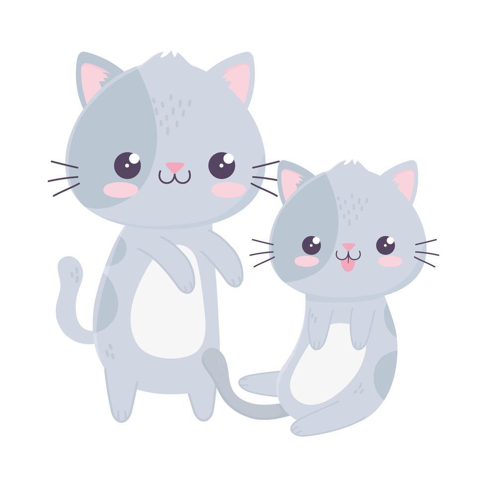 simpatici gatti piccoli animali domestici kawaii personaggio dei cartoni animati vettore
