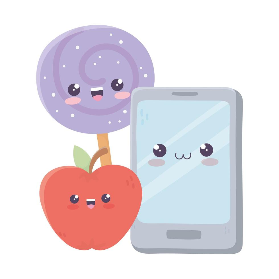 simpatico personaggio dei cartoni animati di kawaii con mela e caramelle vettore