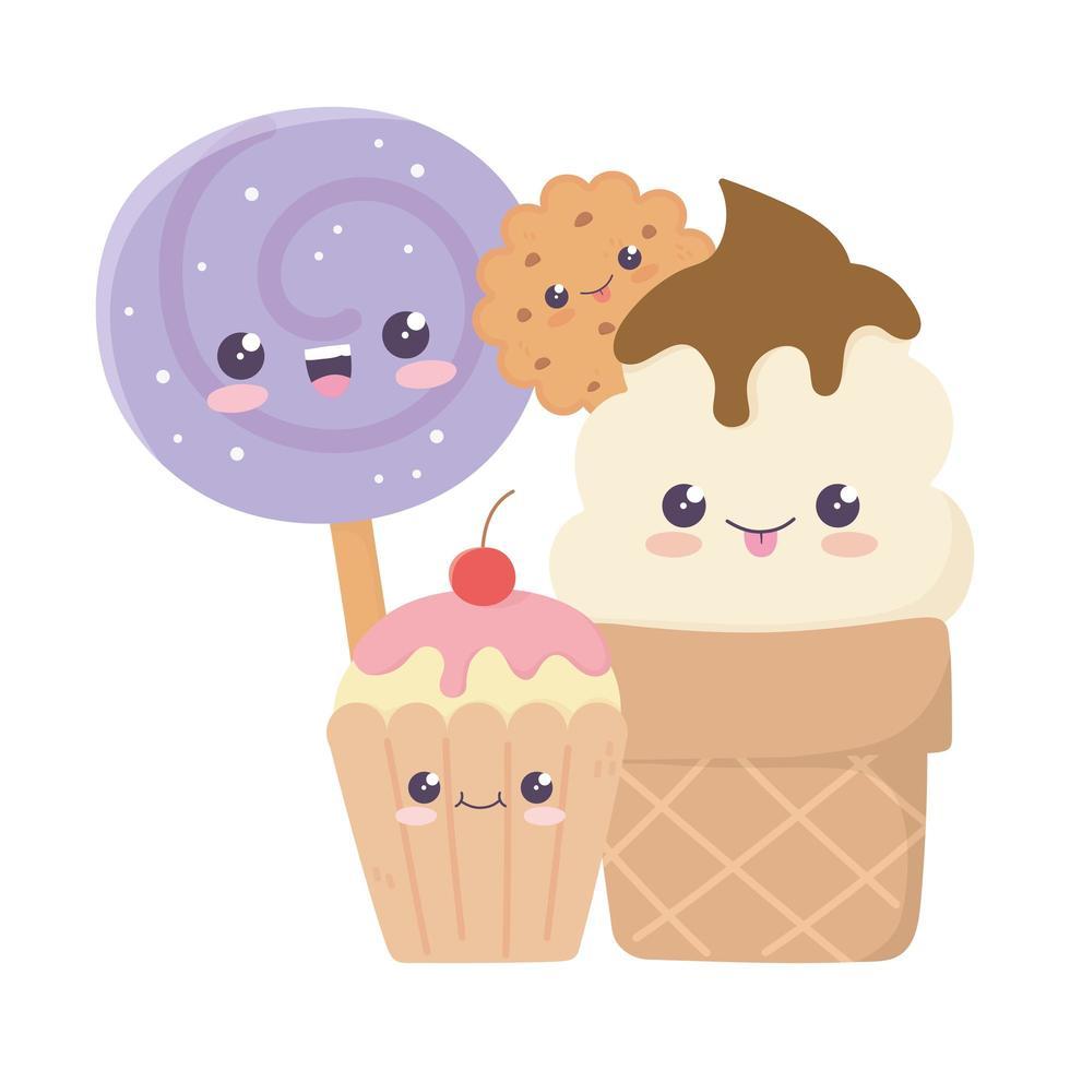simpatico biscotto gelato cupcake e caramelle in stick kawaii personaggio dei cartoni animati vettore