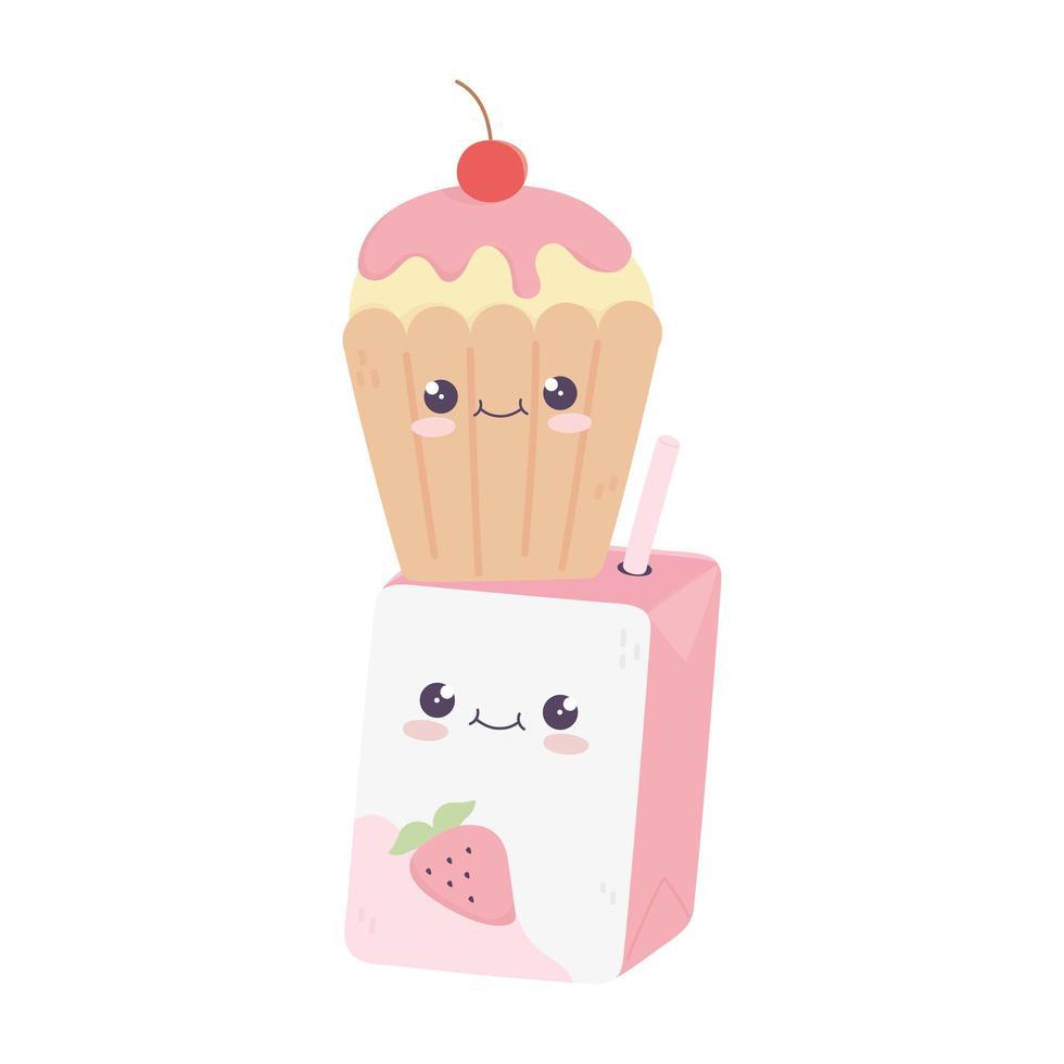 simpatico personaggio dei cartoni animati kawaii di scatola di succo e cupcake vettore