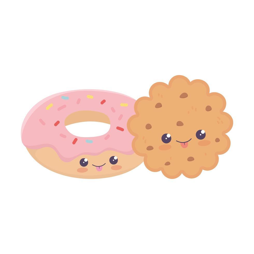 simpatico personaggio dei cartoni animati kawaii di biscotti e ciambelle vettore