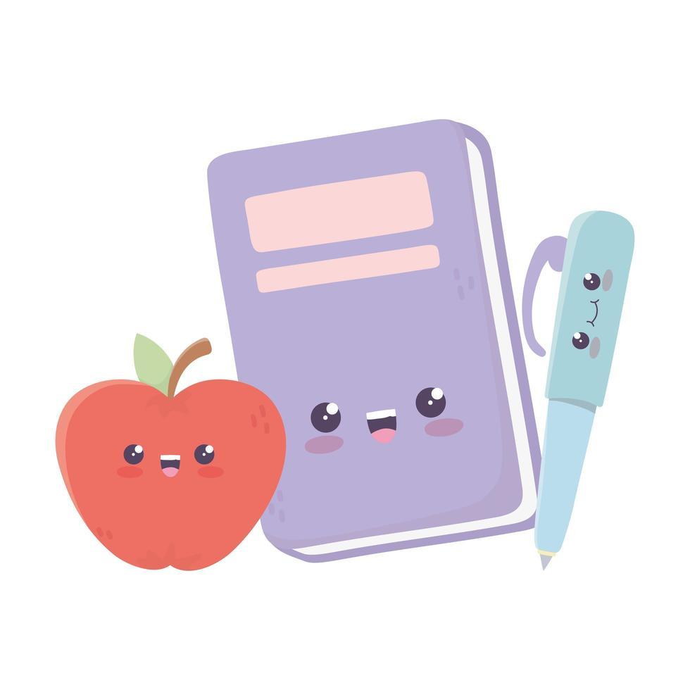 simpatico libro con penna e mela kawaii personaggio dei cartoni animati vettore