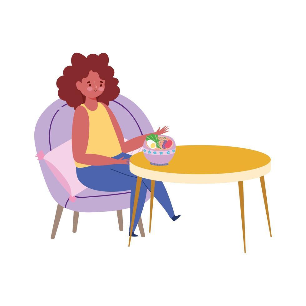 ristorante allontanamento sociale, donna seduta a tavola che mangia da sola, nuova normalità, prevenzione covid 19 coronavirus vettore