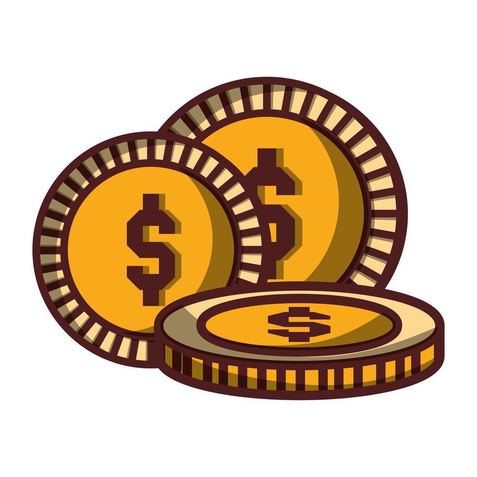 monete denaro dollaro contanti icona design isolato ombra vettore