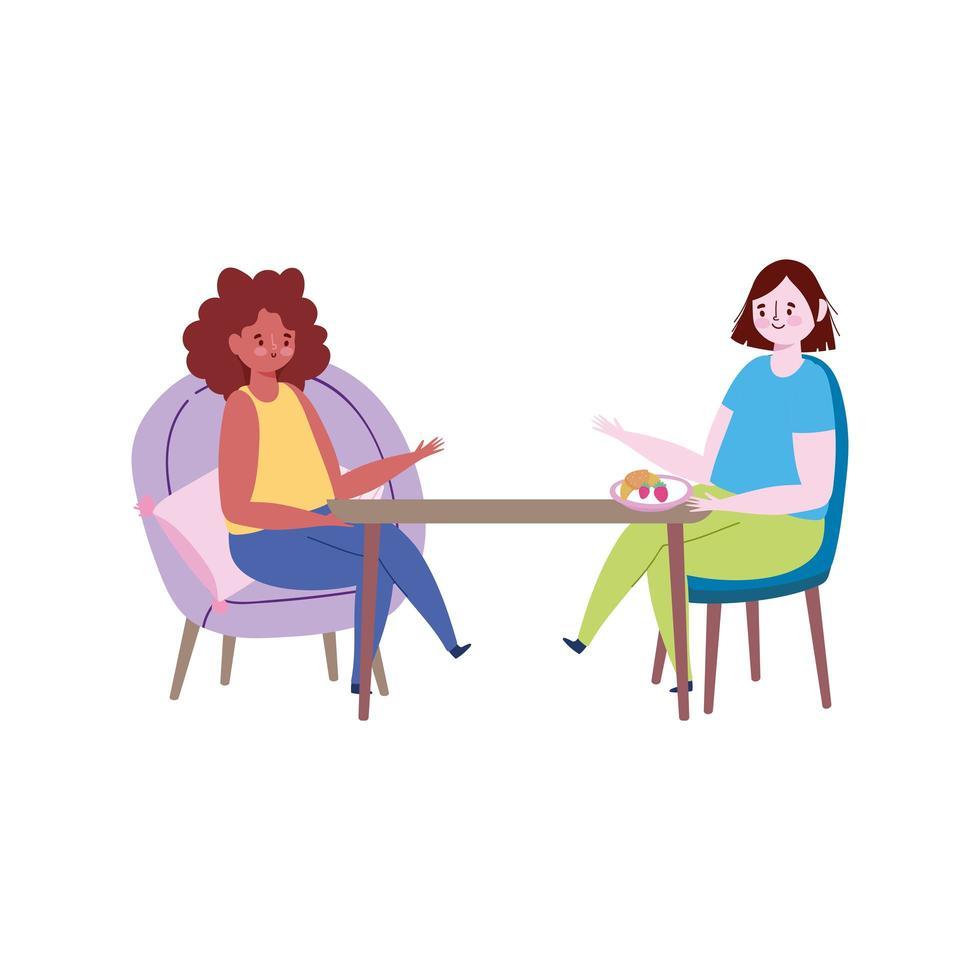 ristorante di allontanamento sociale, le donne si tengono a distanza l'una dall'altra prevengono il coronavirus covid 19 vettore
