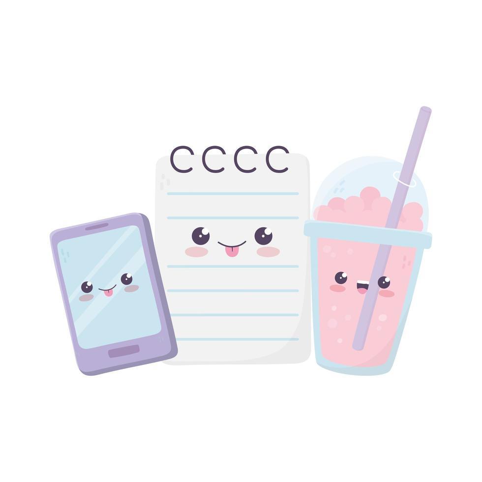 simpatico personaggio dei cartoni animati kawaii di frappè e blocco note per smartphone vettore