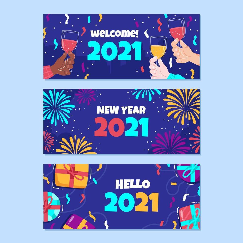 banner di nuovo anno disegnato a mano vettore
