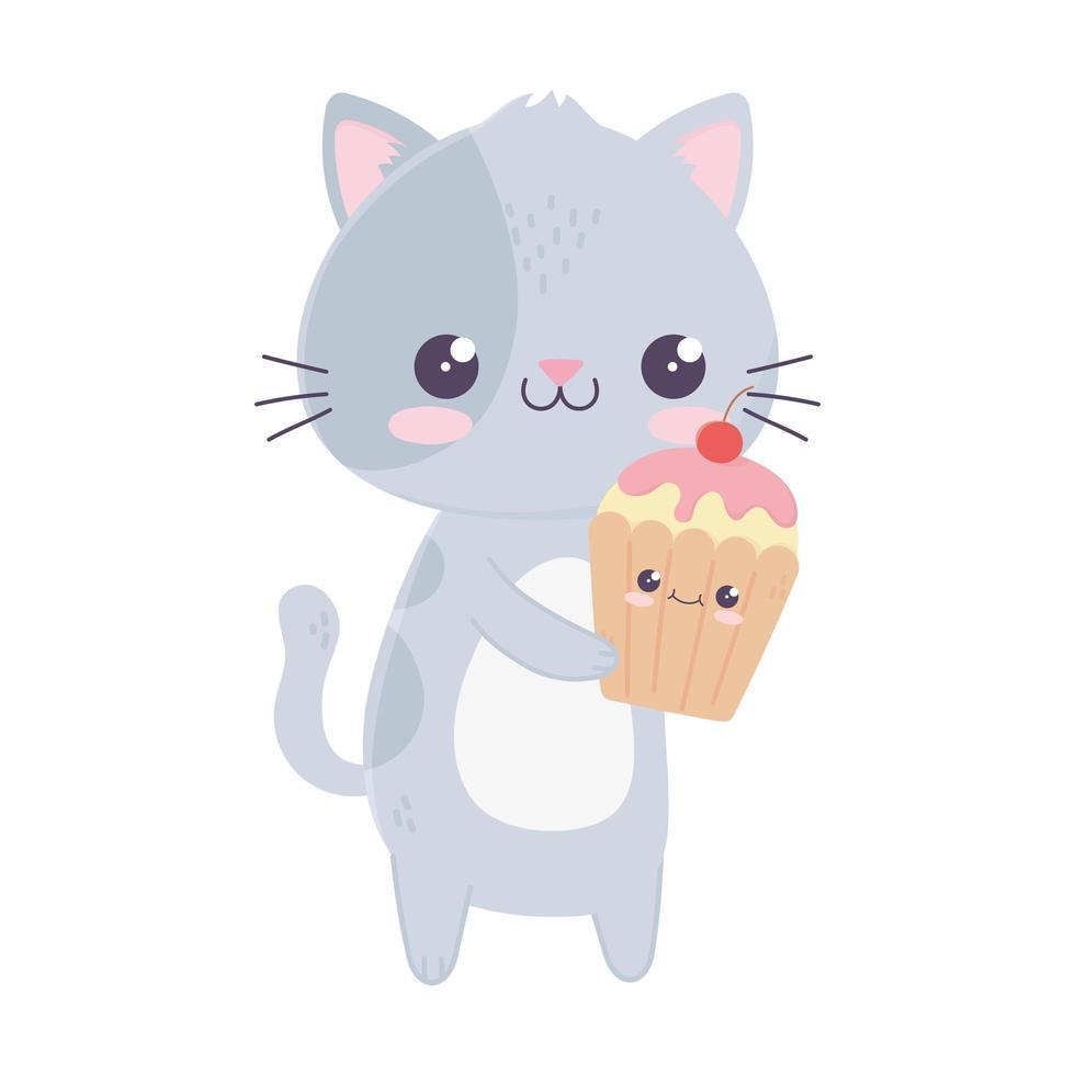 simpatico personaggio dei cartoni animati kawaii gatto e cupcake vettore