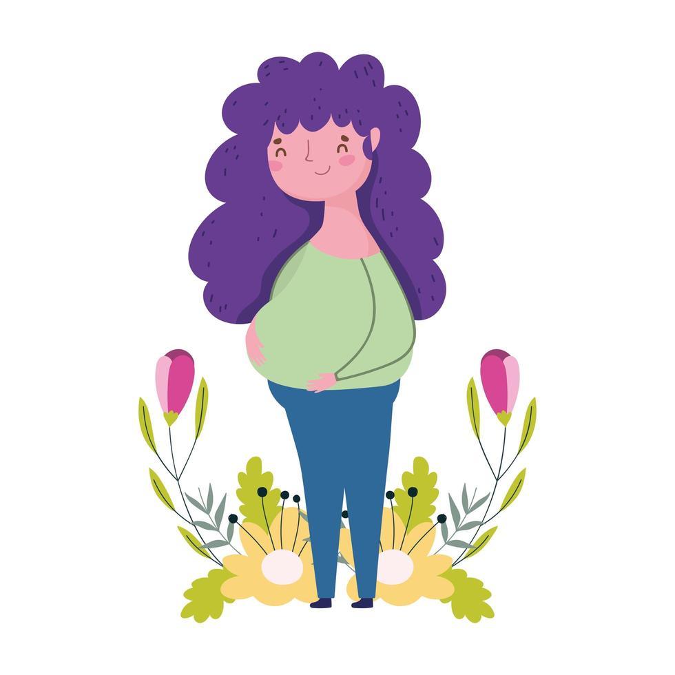 felice festa della mamma, carattere donna fiori foglie decorazione natura isolted design vettore