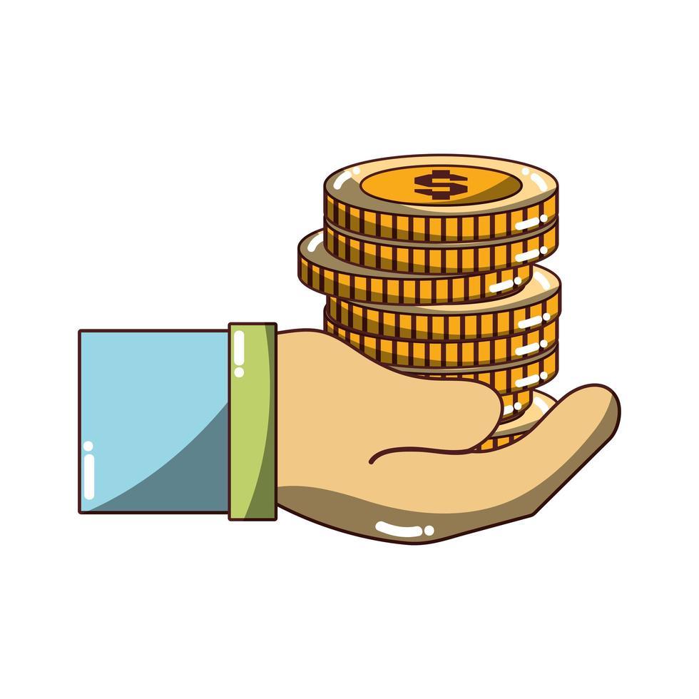 mano con monete soldi icona design isolato ombra vettore