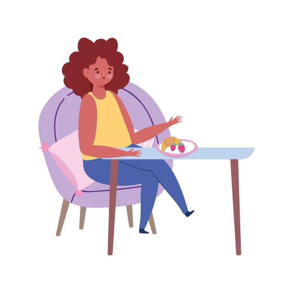 ristorante allontanamento sociale, donna seduta a tavola nuova normalità, prevenzione covid 19 coronavirus vettore