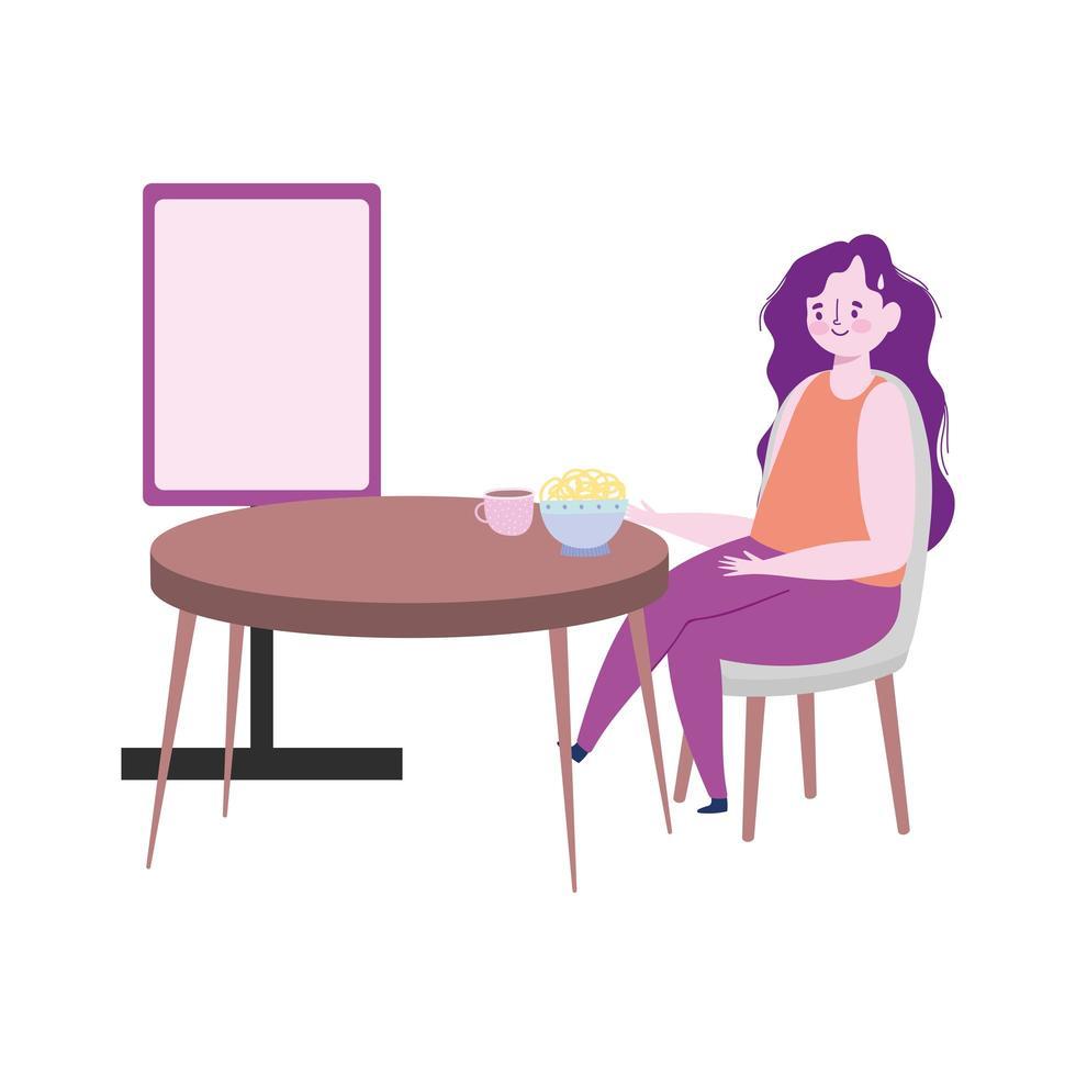 ristorante allontanamento sociale, donna che mangia spaghetti nella ciotola mantenere una distanza di sicurezza, prevenzione covid 19 coronavirus vettore