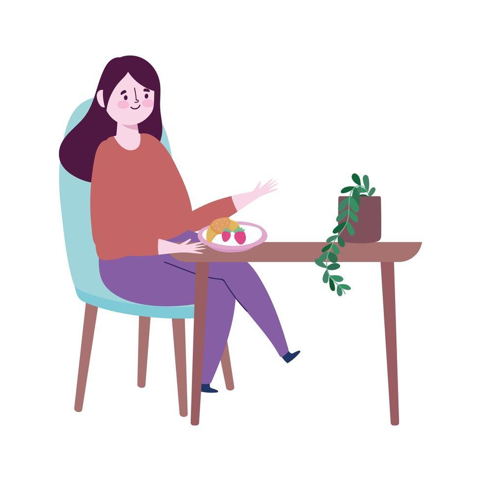 ristorante allontanamento sociale, donna che mangia frutta in tavola, prevenzione covid 19 coronavirus vettore