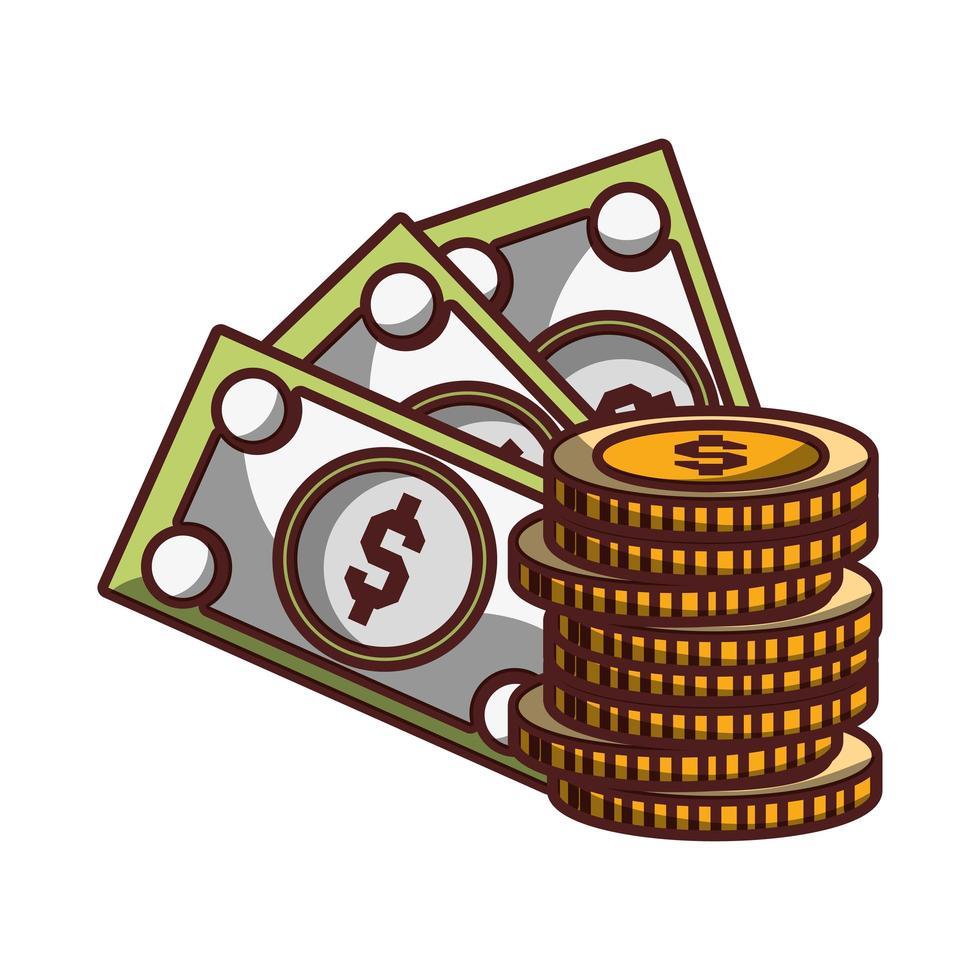 banconote monete soldi icona design isolato ombra vettore