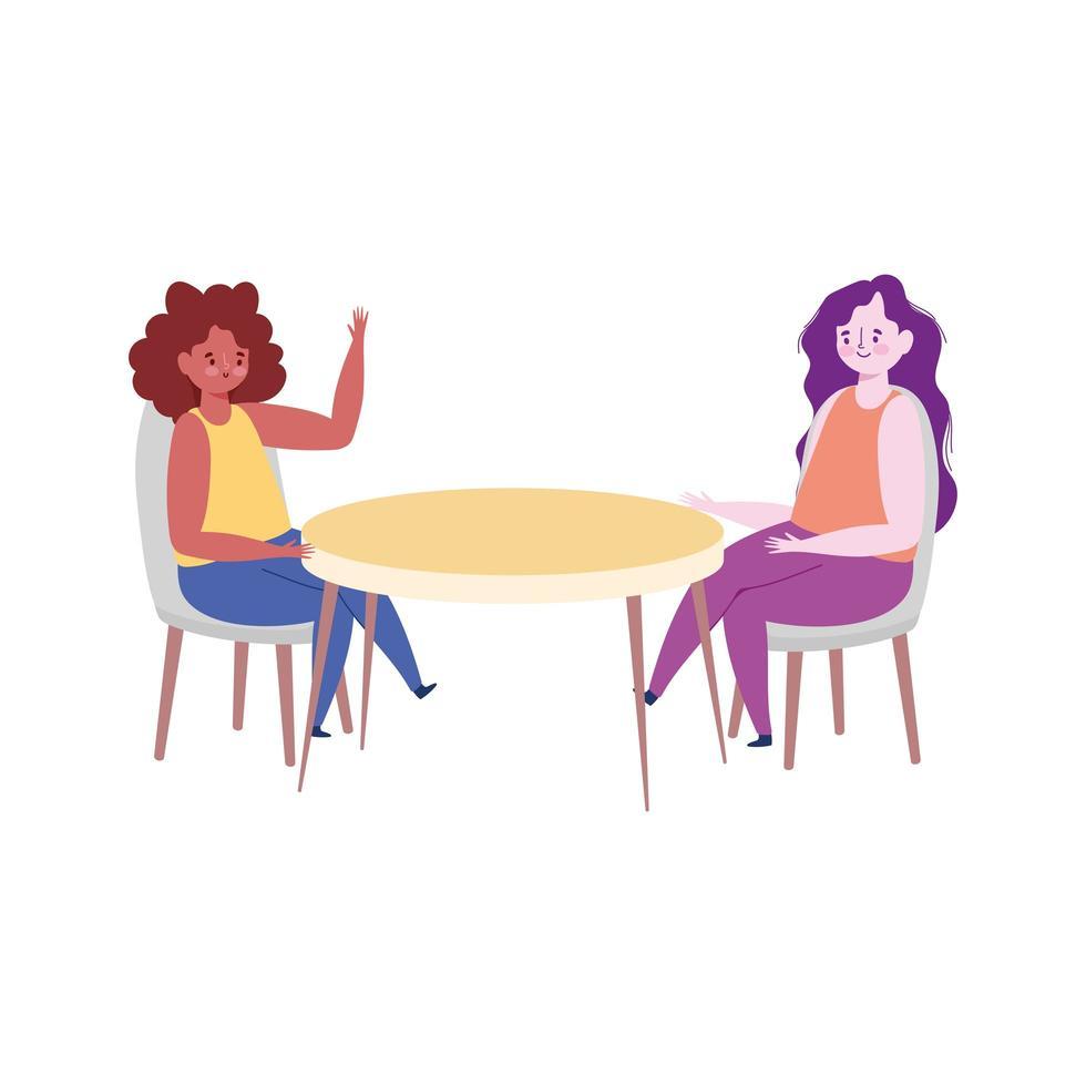 ristorante allontanamento sociale, prevenzione donne per rischio di infezione e malattia, coronavirus covid 19 vettore