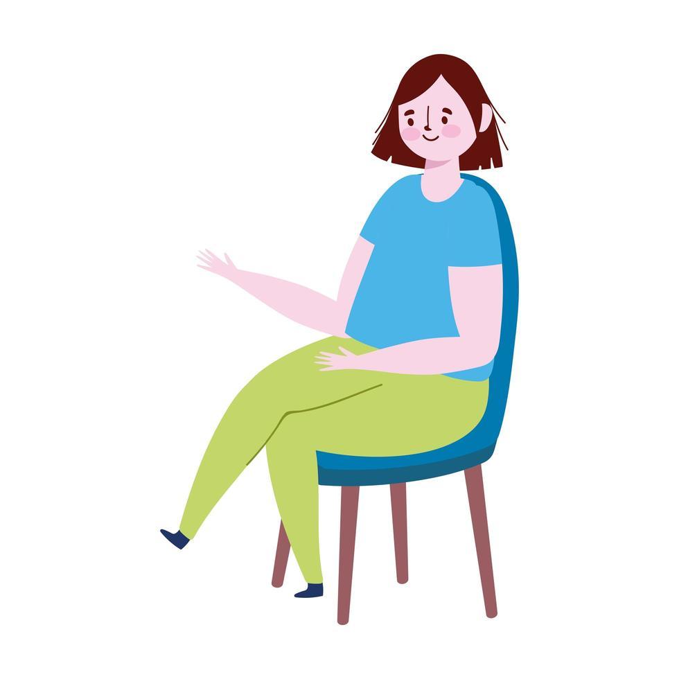 giovane donna seduta sulla sedia fumetto icona isolato design vettore