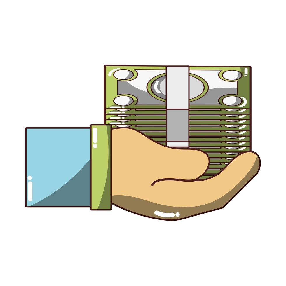 mano con banconote denaro icona design isolato ombra vettore