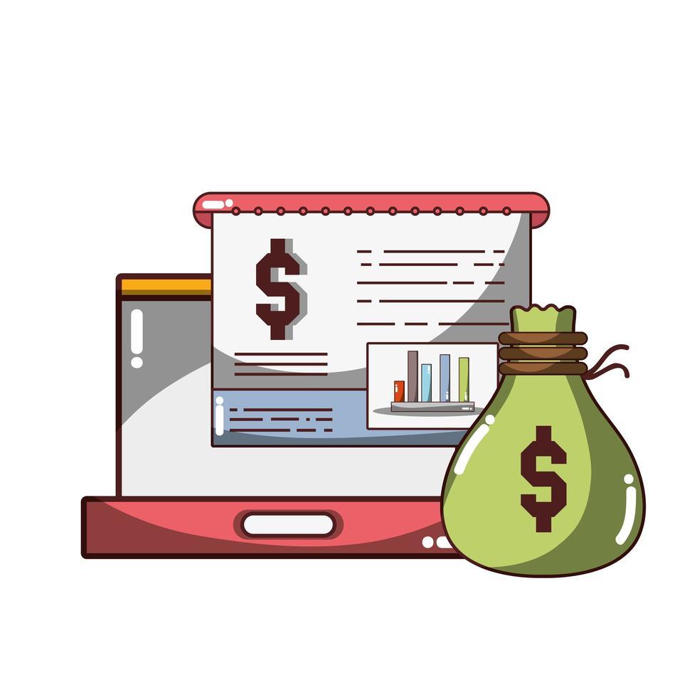 denaro affari finanziari laptop statistiche tendenza rialzista icona design isolato ombra vettore