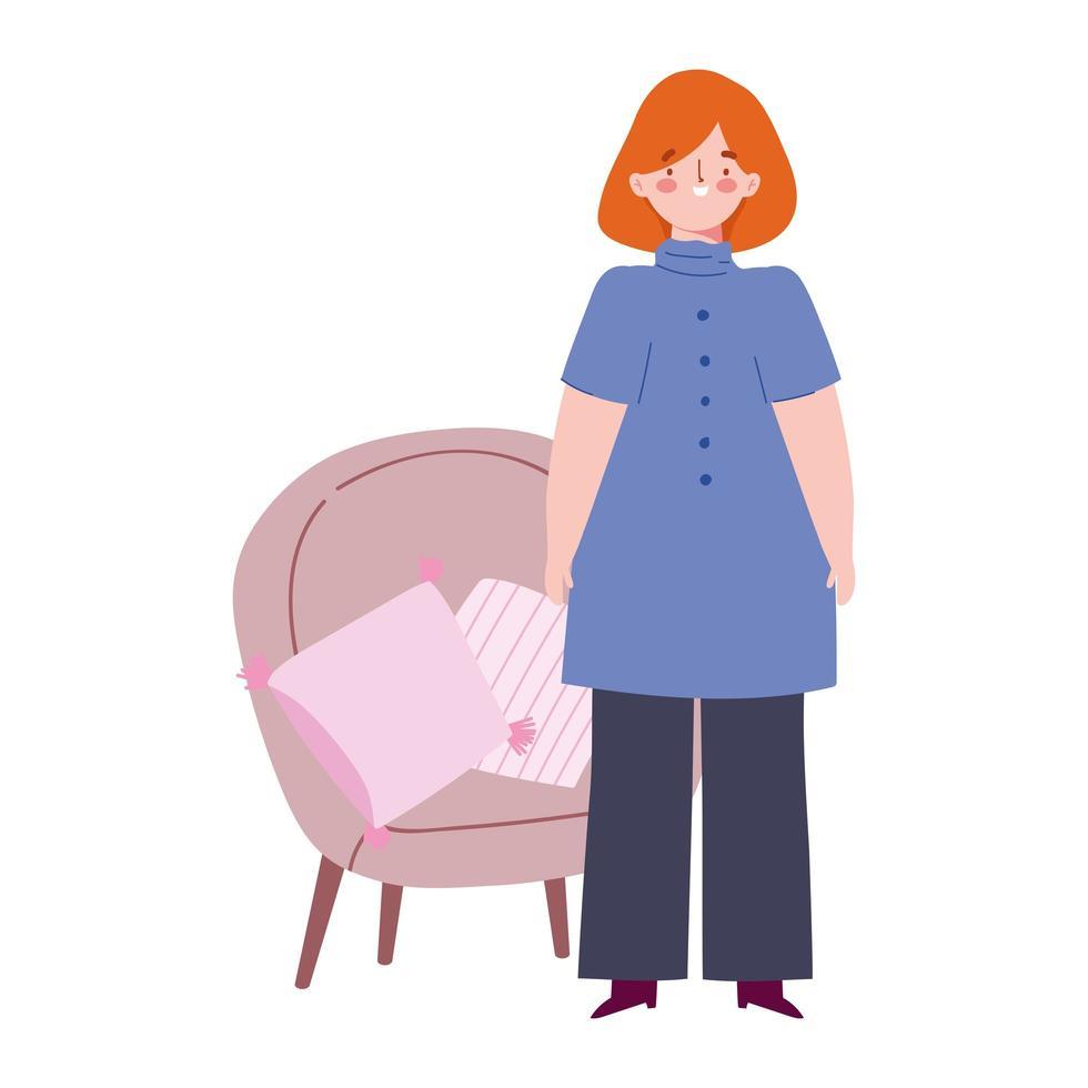 giovane donna in piedi con sedia e design icona isolata vettore