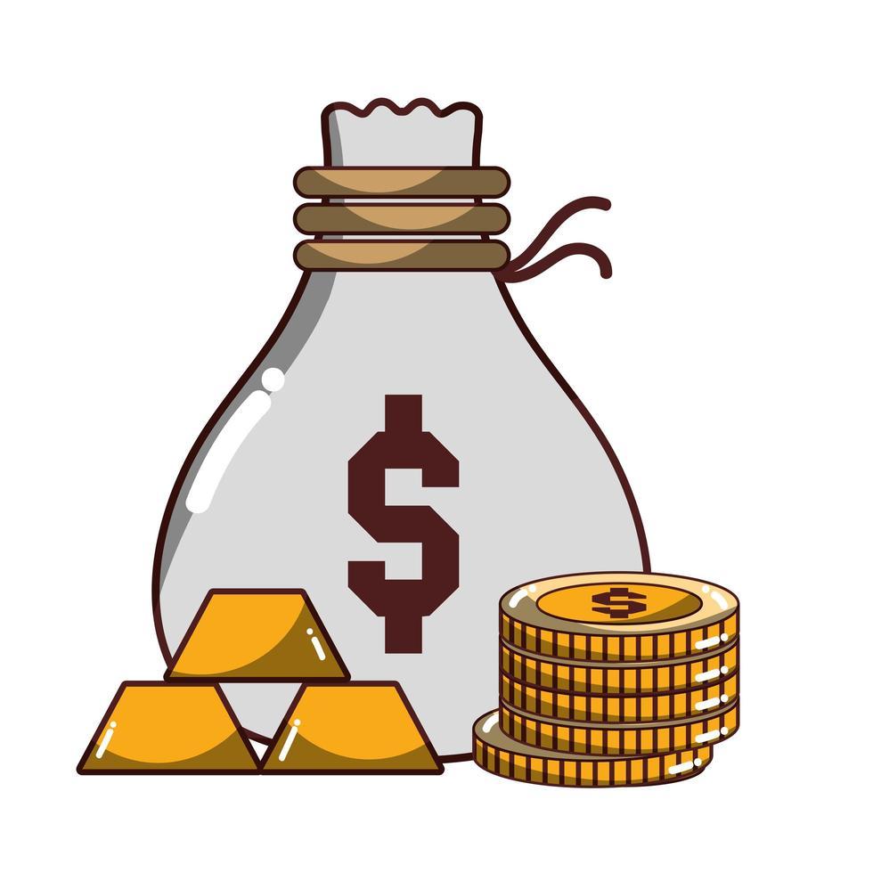 denaro business denaro borsa monete e lingotti d'oro icona design isolato ombra vettore
