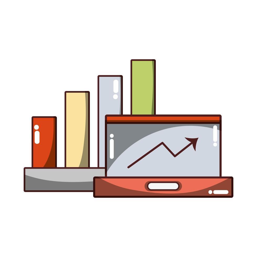 affari finanziari laptop statistiche crescita freccia icona isolato design ombra vettore